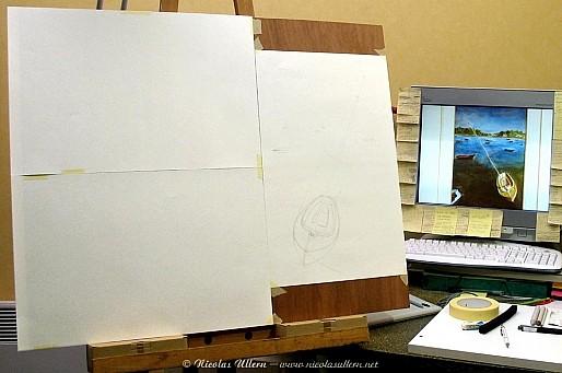 Triple at once (formats demi-raisins) - Tracé au crayon du voilier (à droite)