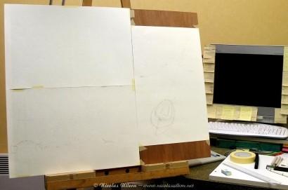 Tracé au crayon de l'ile (en bas à gauche)