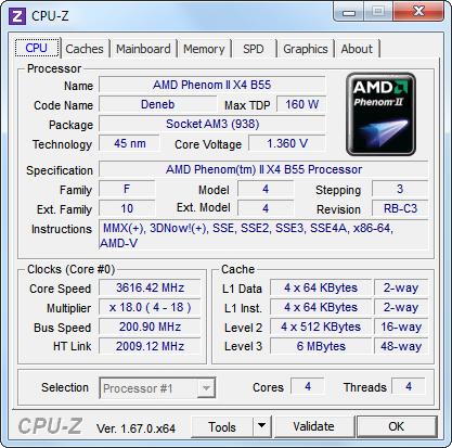 AMD Phenom II X2 555 BE débloqué et overclocké (CPU-z)