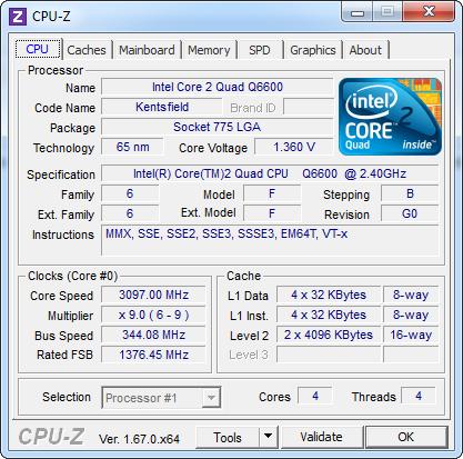 Intel Core 2 Quad Q6600 overclocké (CPU-z)