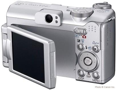 Canon PowerShot A630, de dos avec son écran orientable