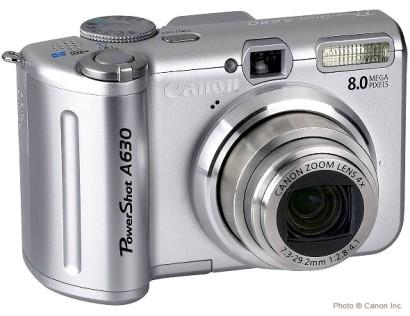 Canon PowerShot A630, de face