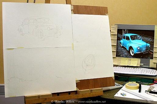 Triple at once (formats demi-raisins) - Tracé au crayon de la 4cv (en haut à gauche)